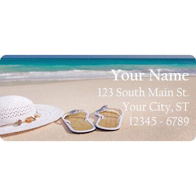 Beach Sandals Return Address Labels Vacation Ocean Sea Sun Hat 60 Labels