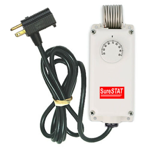 SureStat TS106 Plug In Thermostat Control - Portable, Waterproof, & Adjustable