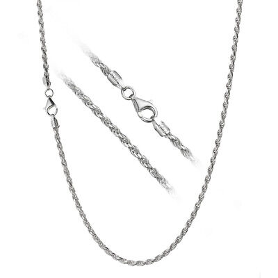 Sterling Silver Italian Diamond Rope - Solid 925 Sterling Silver 3mm Italian Diamond Cut Twisted Rope Chain Necklace