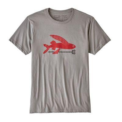 - Patagonia Men Grey Tee Red Flying Fish Organic Cotton Slim Fit L/ XL New
