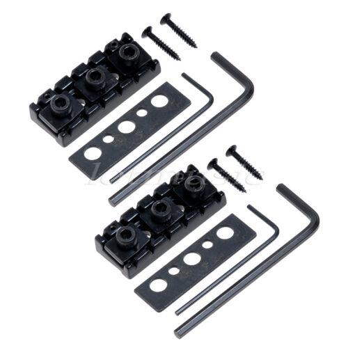 2pcs electric guitar locking nut string lock shim adjustable black ebay. Black Bedroom Furniture Sets. Home Design Ideas