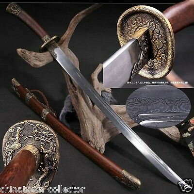 KUNG-FU Qing Dao Sword Broadsword Hand Forged pattern steel sharp blade #0034