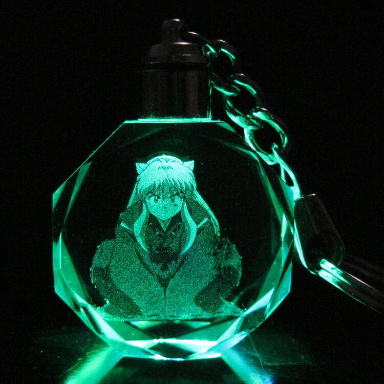 Inuyasha Colorful Crystal Key Chain LED Light Pendant Keyring New in gift Box