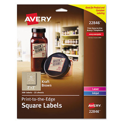 Avery Square Print-to-the-edge Labels 2 X 2 Kraft Brown 300pack 22846