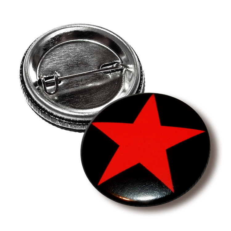 Roter Stern Button 25 mm, Red Star Antifa