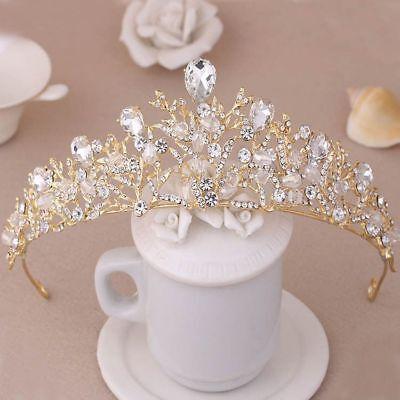 Tiara Cristal Boda Concursos de Belleza Diadema Novia Corona con Perlas Cabello