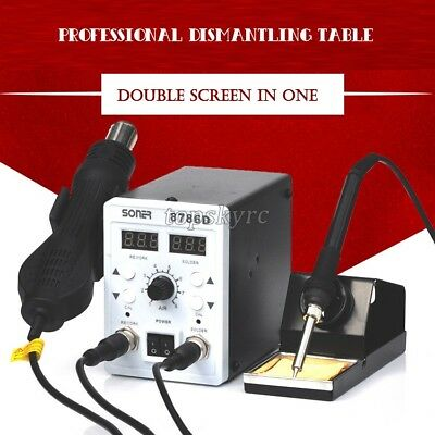 2 In 1 Rework Station Dual Display Rework Soldering Station Hot Air Soner-8786d
