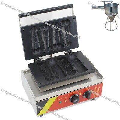 Nonstick Electric Hot Dog Penis Waffle Maker Iron Machine Baker W Dispenser