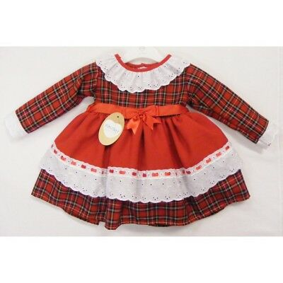 *SALE* Beautiful Kinder Baby Girl Red Tartan Dress with Bows Anglaise Trim Lace