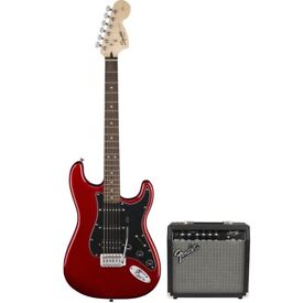 Fender Squier Affinity Strat HSS in Candy Apple Red WITH FRONTMAN 15G AMP.