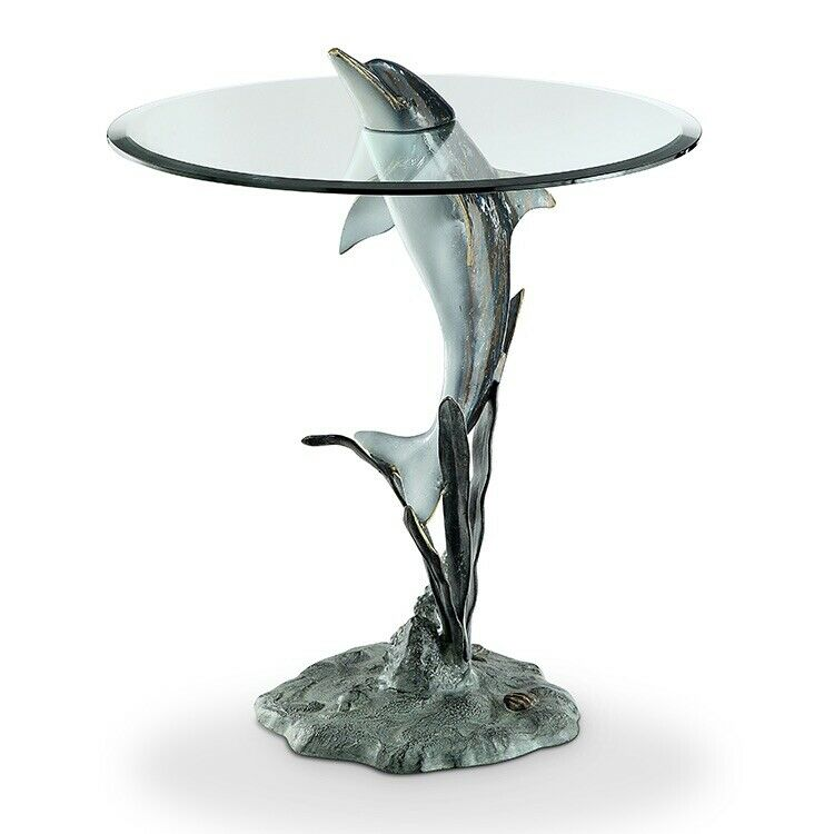 Round Glass & Aluminum Dolphin Fish Tropical Accent Or End Table Decor BRAND NEW