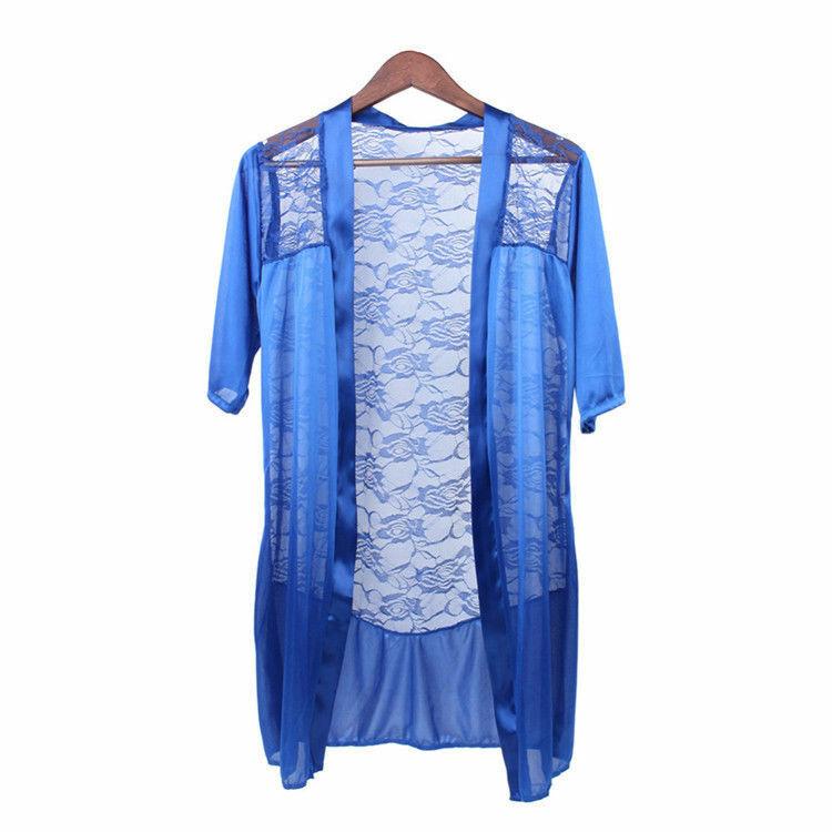 US Sexy Women Lingerie Lace Satin Silk Trim Kimono Robes Sleepwear Underwear Set Clothing, Shoes & Accessories
