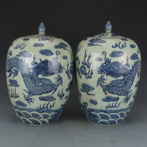 A Pair Nice Chinese Antique Qing Blue&white Porcelain Dragon Cover tank