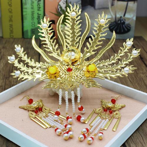 Chinese Bride Costume Headdress Gold Phoenix Hairpin Hair Bridal Accessories Hot