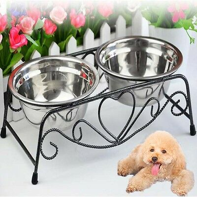 Stainless Steel Double Cat Dog Puppy Pet Water Food Feeder Dish Bowls Stand h360