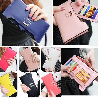 Women Long Leather Clutch Wallet Bow Card Coin Holder Thin Money Purse Handbag Money Long Wallet
