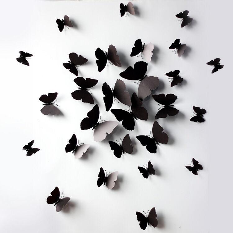 Home Decoration - BLACK 3D DIY Wall Sticker Butterfly Home Room Decor Decorations 12 pcs Set