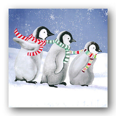 Pack of 8 Funny Playful Penguins Christmas Cards (Ref: eb427) Animals Wildlife