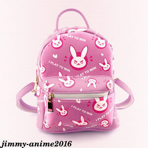 Game Overwatch OW D.VA Cute Bunny Backpack Schoolbag Cosmetic bag Leather Pu Bag