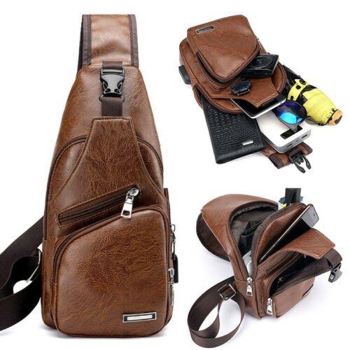 Style Men's Leather Chest Sling Bag Shoulder Crossbody Backp