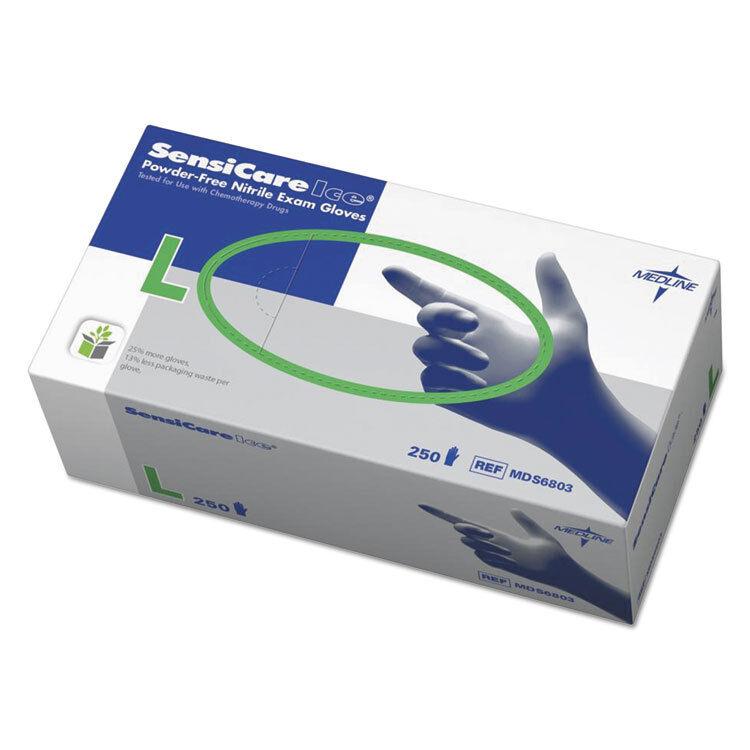 Medline Sensicare Ice Nitrile Exam Gloves Powder-Free Large Blue 250/Box MDS6803