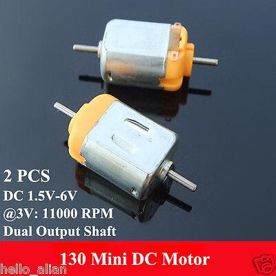 2pcs Dc 1.5v 3v 6v 11000rpm Micro Mini 130 Dc Electric Motor Double Dual Shaft