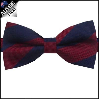 Navy & Dark Red Stripes Bow Tie Dark Red Bow Tie