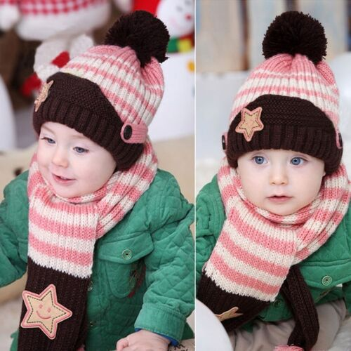 Children Caps Earflaps Thickening Cartoon Monkey Knitted Baby Winter Warm Hat