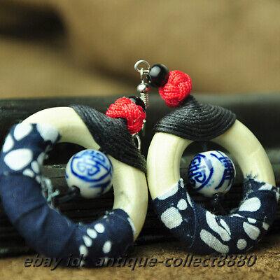 National Style Wood Ring/Blue White Porcelain Bead Earrings Ear Stud Pair 0202