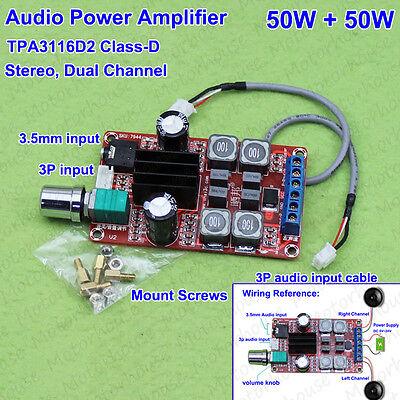 TPA3116D2 DC 12V-24V Class-D 50W+50W Stereo Digital Audio Power Amplifier Board