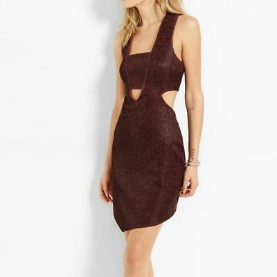 EXPRESS CUTOUT SHEATH DRESS 2 *MERLOT SPARKLE* NWT