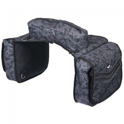 Tough-1 Elite Insulated Saddle Bag Black Tooled Leather Fun Print Horse Tack