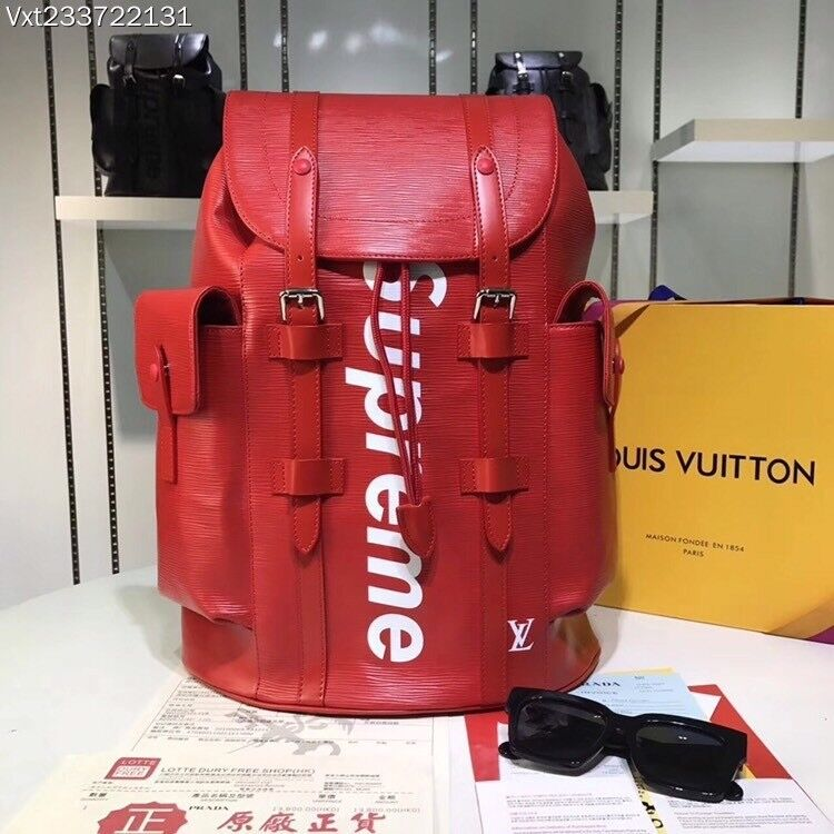 9f1e9fe1885c LOUIS VUITTON x SUPREME LV BACKPACK CHRISTOPHER PM BAG EPI RED (FREE UK  Delivery)