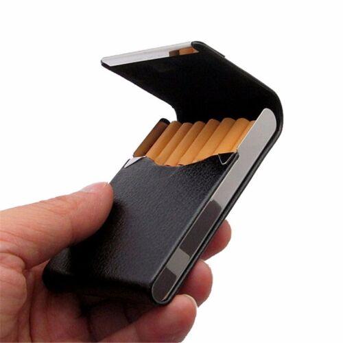 Stainless steel + BLACK Faux Leather Cigarette Case Holder Pocket Box - 8104