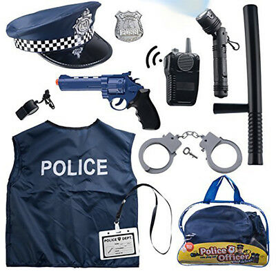 Police Officer Toy Play Set Costume Plastic Gun Hat Vest Handcuffs Cop Kids Gift