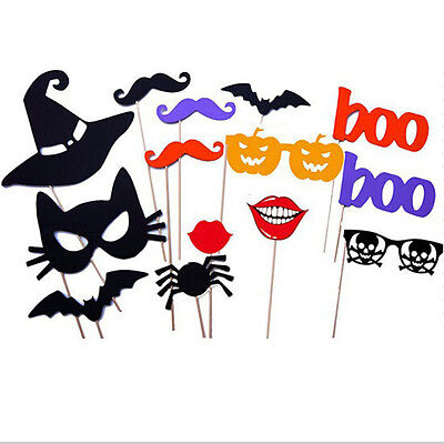 14PCS DIY Halloween Party Card Masks Photo Booth Props Mustache On A Stick LF](Diy Halloween Photo Booth Props)