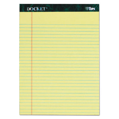 TOPS Docket Ruled Perforated Pads 8 1/2 x 11 3/4 Canary 50 Sheets 6/Pack 63406 ()