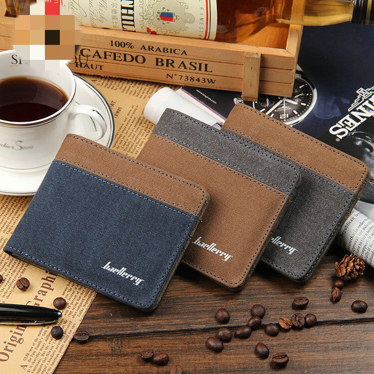 Canvas Slim Mens Wallet Bifold Credit ID Card Holder Purse Clutch Mini Wallet US Clothing, Shoes & Accessories