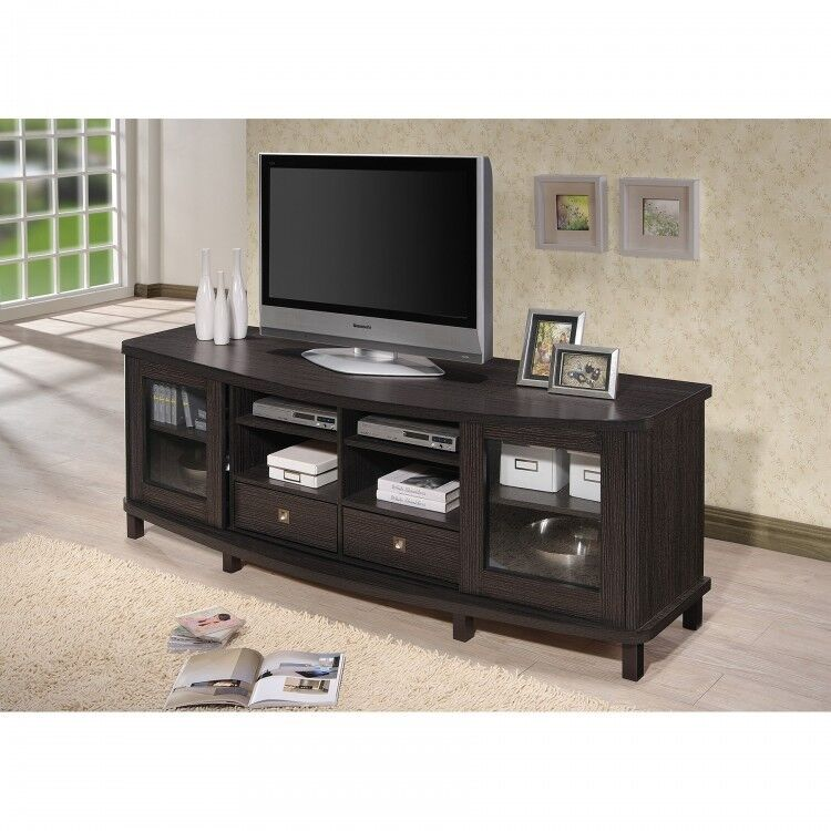 wood tv stand media storage cabinet entertainment center holds 70 inch tv brown ebay. Black Bedroom Furniture Sets. Home Design Ideas