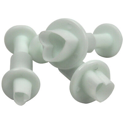 3X HEART CAKE DECORATING SUGARCRAFT TOOL MOULD PLUNGER CUTTER VALENTINES FONDANT