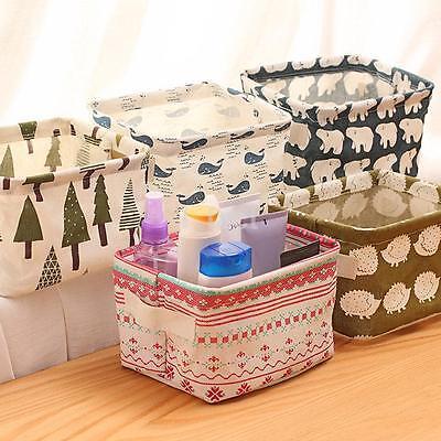 Cartoon Linen Cotton Desk Storage Basket Organizer Bag Holder Laundry Box CA