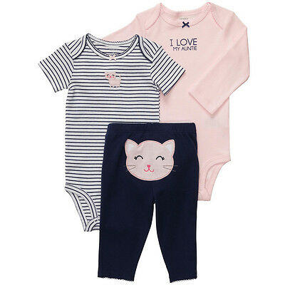 NWT Carters Baby Girls 3 Piece Bodysuit Set Clothes Newborn 6 9 12 18 24 months