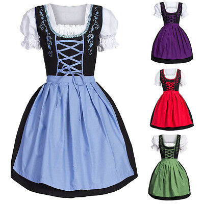 Women Oktoberfest Costume Bavarian Beer Girl Drindl Tavern Maid Short Mini Dress