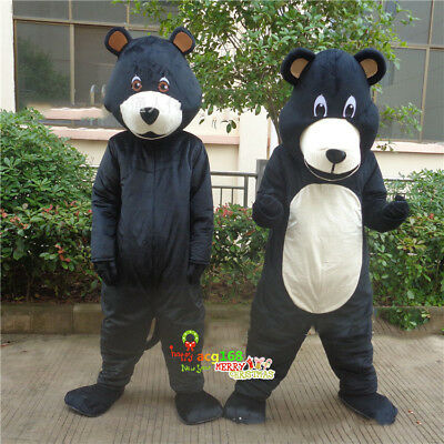 Black Panda Bear Mascot Costume Suit Cosplay Party Game Outfit Adult Halloween - Black Bear Halloween Party