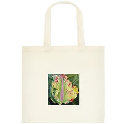 CANVAS TOTE / BOOK BAG WITH PRINT OF ORIGINAL ART - Flaming Parrot Tulip - NEW