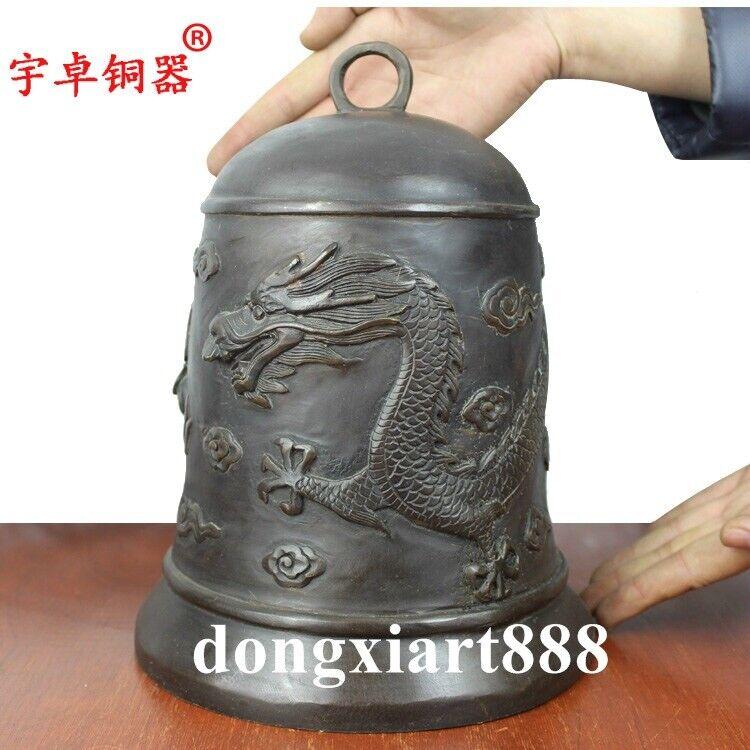 26 cm Tibetan Buddhism Temple Pure Bronze Hang Buddha Dragon Chime small bell
