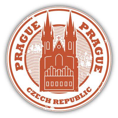 Prague Czech Republic Grunge Travel Stamp Car Bumper Sticker Decal - 3