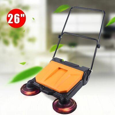 Brand New 15l Double Brush Push Power Sweeper Pavement 26 Hand-push Type