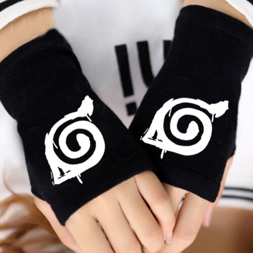 Fashion Anime Naruto Konoha Half Finger Gloves Mitten Cosplay Costume Prop Gifts