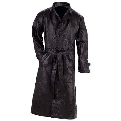 Mens Black Soft Patchwork Leather Trench Coat